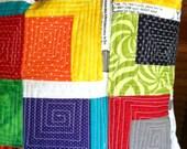 Modern Pillow,Quilted Pillow,Log Cabin Pillow,16x16,Cushion,Rainbow Colors,Pillow,16x16