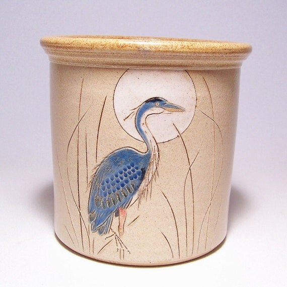Great Blue Heron Pottery Utensil Holder Limited Series 100 (wide)
