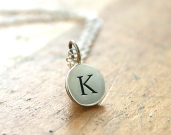 Initial necklace, sterling silver hand stamped jewelry, personalized necklace, Christmas gift for her, for mom, grandma, initial jewelry