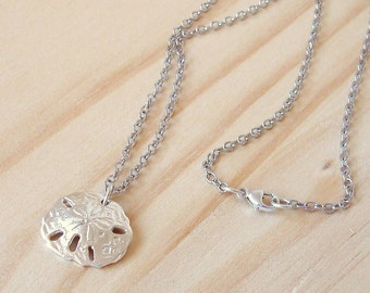 sterling silver .925 or Argentium silver .935 sand dollar necklace with shiny rhodium silver chain