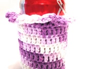 Purple And White Crocheted Can Cover With Ruffle