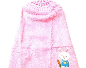 Easter Bunny Pink Wash Cloth With Petal Pink Crocheted Top