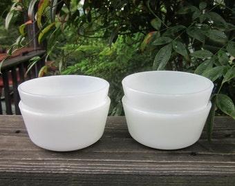 Four Vintage Custard Cups - Milky White