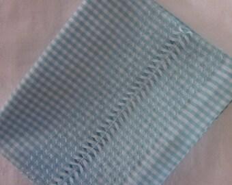 Vintage Handmade Pillowcase - Aqua and White