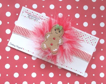 Headband Gingerbread Girl red white swirl marabou pouf hair clip and chevron Christmas headband set