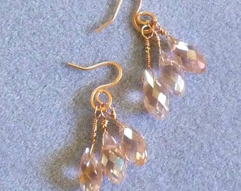 rose gold filled wire and pink AB crystal dangle earrings