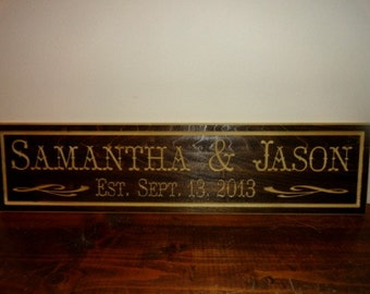 Personalized Home Decor - Family Est Sign - Custom Wedding Sign - Wooden Family Sign - Family Name - Engraved Wood Sign - Housewarming Gift