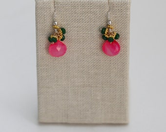 October Pink Earrings: Pink Chalcedony Tear Drop Clusters with Emerald Quartz & Gold Beads, Silver Ear Wires Susan G. Komen