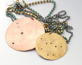 constellation vacation disc rhinestone necklace