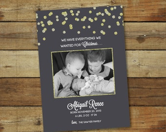 Christmas card and birth announcement - glitter confetti - Christmas baby announcement - printable or printed cards