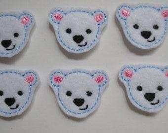 White Felt Embroidered Polar Bear face Felties  - 004