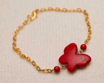 Butterfly jewelry, red bracelet, red butterfly, stone bracelet, gold chain bracelet, layer jewelry, gift for teen girl, butterfly jewelry