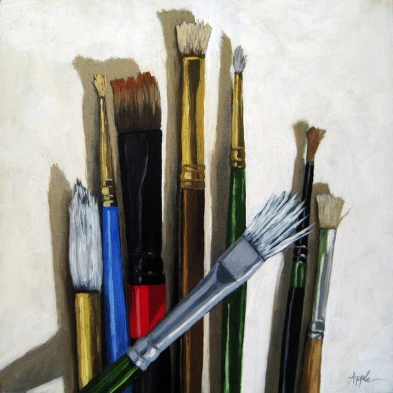 Items similar to artists brushes still life art supplies for Canvas painting supplies