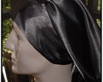 Sleep Slumber Hat Cap Natural Hair Locs-Unisex-Black Satin Charmeuse