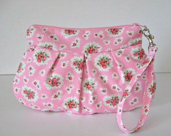 Rose fabric wristlet / clutch