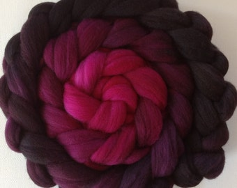 Hand Dyed gradient roving for spinning or felting 3.5 Back to Black  pre order