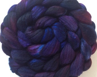 Hand Dyed roving for spinning or felting Blackberry 3.5ozs Pre-Order