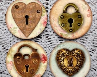 Key To My Heart -- Valentine Mousepad Coaster Set