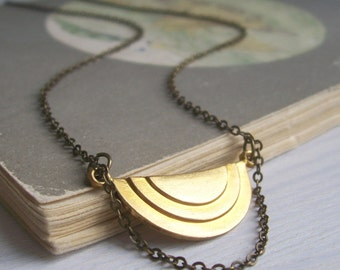Elegant Moon Deco necklace - golden geometric pendant - beautiful raw brass semi circle