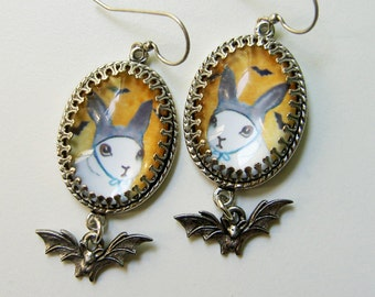 I'm BATBUNNY - Rabbit Bat Bunny Earrings with Bat Drop. Halloween Earrings -  Bat Earrings - Cute Halloween - Superhero Earrings - Bunny