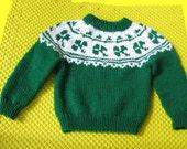 Clover Ski Sweater Handknit in Green & White
