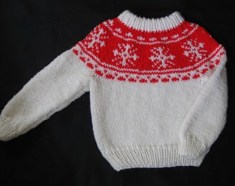 Snowflake Ski Sweater in White with Red Yoke for Children