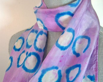 silk scarf in purple with blue and white circles