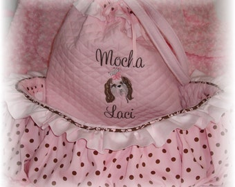 Shopping Cart Cover  - Pink Ruffles and Polka Dots  - Dog Cart Cover  - Embroidery - Lampwork Bead Key Holder