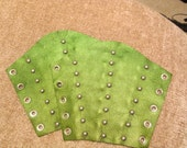Metallic Green Spotted Bracers - Large Pair