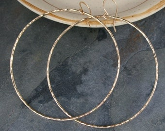 Extra Large Eternity Earrings, 14k Gold Filled Hoops, Round Hoops, Hammered texture, Dangle Hoops, 14 Karat Gold Filled