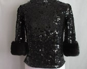 RESERVED Vintage 50s 60s Knit Wool Fully Sequined Top Blouse Shirt with Beaver Fur Cuffs Small Medium