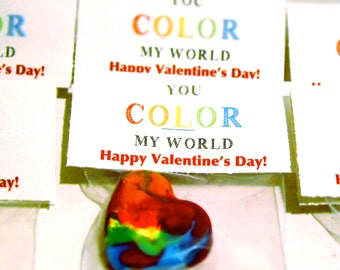 Kids VALENTINES Favor Heart Crayons Classroom Pack - Recycled Rainbow Crayons-MINI Heart Valentines Day Recycled Rainbow Crayon Class Favors
