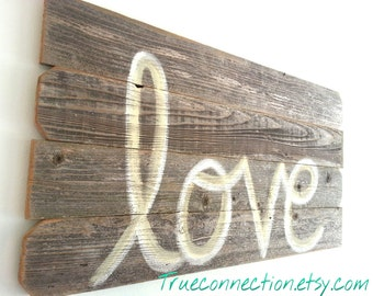 Faith Love Hope Rustic Wall Art Faith Script Reclaimed Wood LARGE 44 x 22 Wooden Sign Decorations Farm House You Pick COLOR. Love Headboard