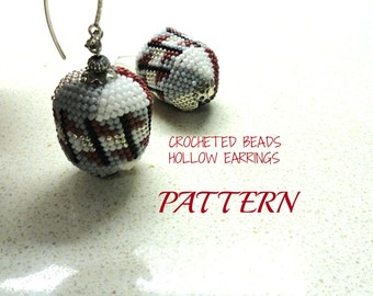Jewelry Hollow earrings  Crocheted  Beads  pattern Tutorial for personal use only by artefyk