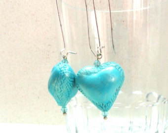 Jewelry earrings TURQUOISE small hollow heart dangle   handmade by artefyk