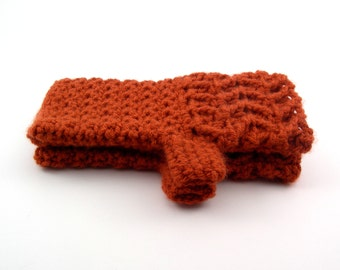 Burnt Pumpkin Chevron Style Crochet Fingerless Gloves, Pumpkin Texting Gloves, Orange, Wristwarmers, GLC112-001