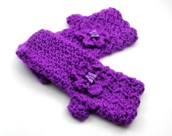 Plum Crochet Fingerless Gloves with Flower, Purple Texting Gloves, Purple Wristwarmers, GL119-01