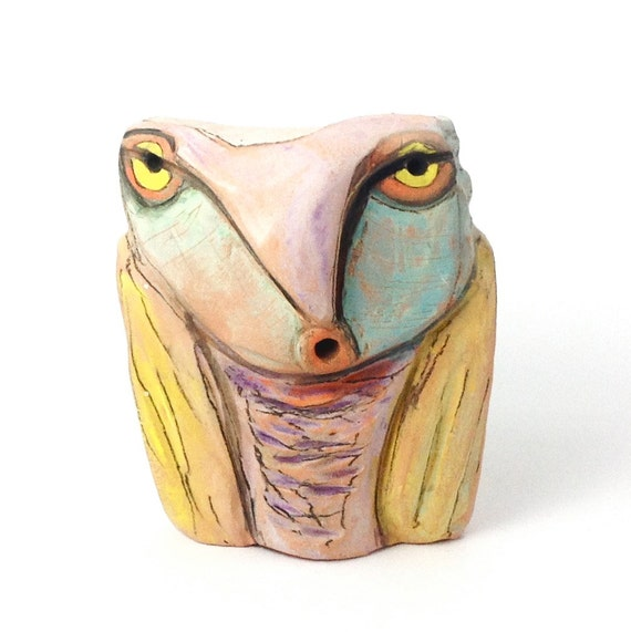 Owl, clay sculpture, Owl Person Feeling the Life Giving Energy of the Sun 4-1/8""