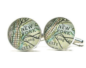 NYC Antique Maps Cuff Links 1899, Gift for Men, Gift, Boyfriend Gift, Brother Gift, Teen Boy Gift, Husband Gift