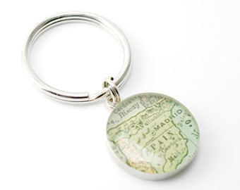 Grooms Gift from Bride, Anniversary Gifts for Men Vintage Map Sterling Silver Round You Select the Journey.