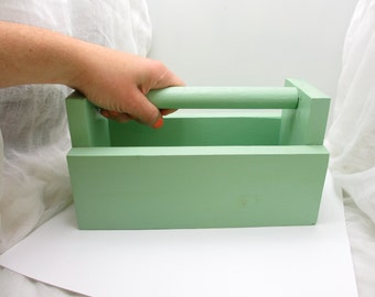Vintage mint green wooden box
