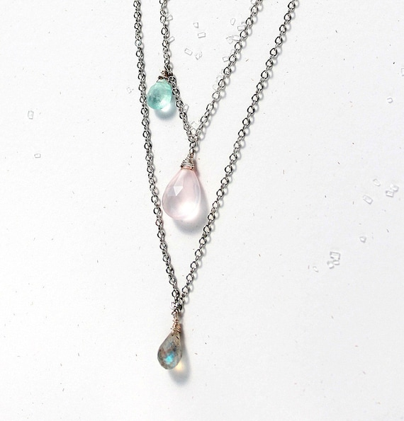Pink Blue Grey Necklace, 3 Stone Necklace, Asymmetrical Necklace, Artisan Jewelry, Silver Chain Rose Quartz, Aquamarine Necklace