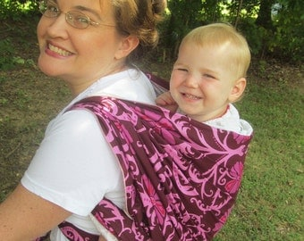 Sale - Woven Baby Wrap Carrier- Linen Blend Magenta - DVD included - Size 4, baby wrap, toddler carrier, summer wrap