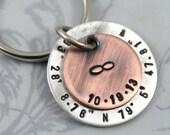 Custom Coordinates, Personalized Keychain, Gift for Husband, Wedding Gift, Engagement Gift for Groom, Latitude & Longitude, Engraved Keyring