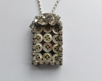 Vintage mother of pearl soldered rhinestone charm pendant