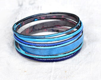 Handcrafted Bracelets - 'Bluey' - 7-Piece Bangle Set