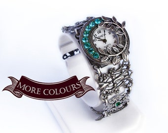Vintage silver filigree watch bracelet Gothic jewelry Blue Zircon Swarovski rhinestones women's ladies watch Victorian Jewelry gift