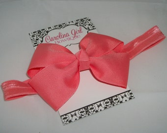 Coral Bow Band - Coral Bow on an Elastic Headband Baby Infant Toddler - Girls Hair Bows