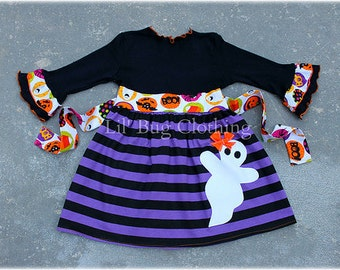 Custom Boutique Purple Black Stripes Ghost Halloween Girls Comfy Knit Dress