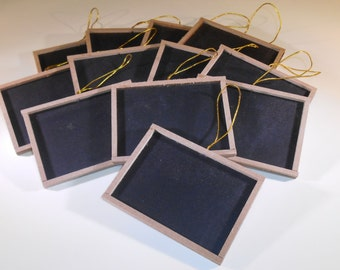 "12 Mini Chalkboards with Wood Frame 3"" x 4"" Blackboard"